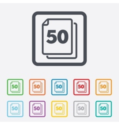 In pack 50 sheets sign icon 50 papers symbol vector