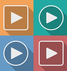 Set of play button icons with a long shadow vector