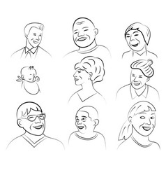 Smiling and laughing faces vector