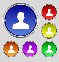 User person log in icon sign round symbol on vector