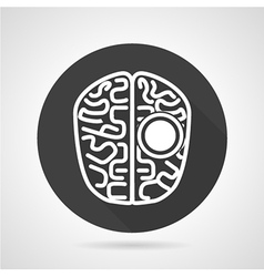 Brain black round icon vector