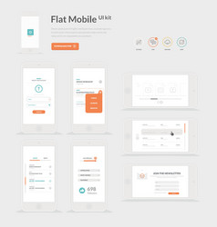 Flat mobile ui kit vector