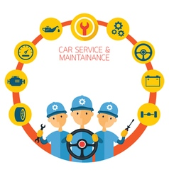 Mechanic and car maintenance service icons vector