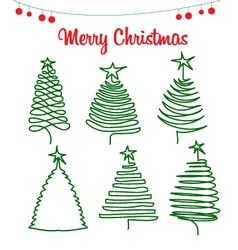 Icons christmas pine vector