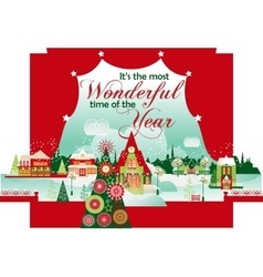 The most wonderful time christmas card vector