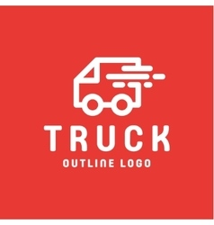 Truck trending an outline line quality logo vector
