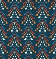Seamless christmas pattern trees firs on dark vector