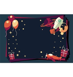 Background with balloons presents rocket ship vector image vector image