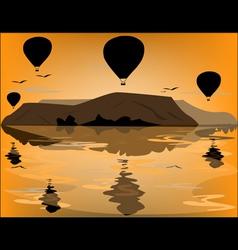 Balloons in cappadocia at dawn sky background vector