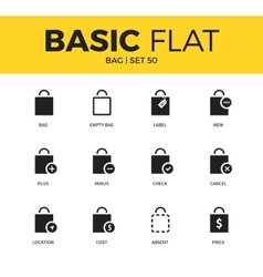 Basic set of bag icons vector