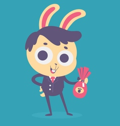 Business bunny holding a chocolate egg vector