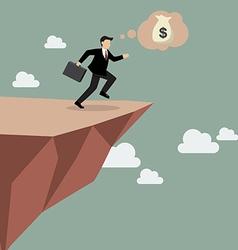 Businessman takes a leap of faith on clifftop vector