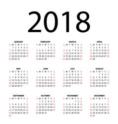 calendar for 2018 vector image vector image