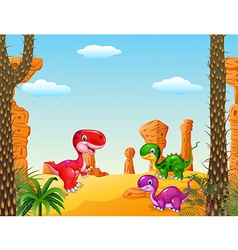 Cartoon happy dinosaur Collection with Prehistoric vector image vector image