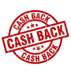 Cash back round red grunge stamp vector