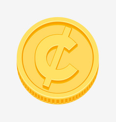 Cent centavo peso currency symbol on gold coin vector