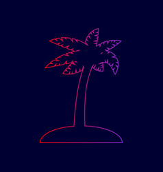 Coconut palm tree sign line icon with vector