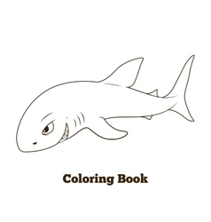 Coloring book shark cartoon educational vector
