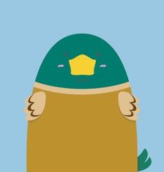 Cute big fat green head duck vector
