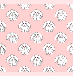 cute white rabbit on light pink background vector image