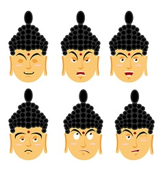 Emotions buddha set expressions avatar indian god vector
