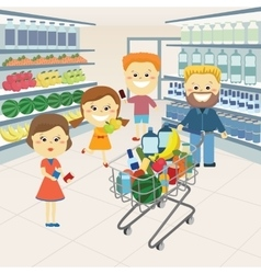 Family at the grocery store vector