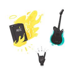 Flat music symbol guitar amplifier rock vector