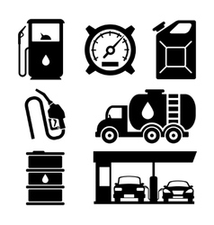 Gas station icons vector image