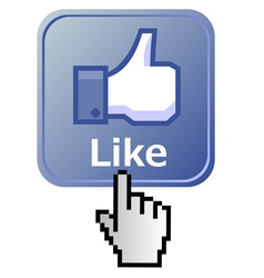 Hand on like button vector