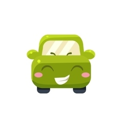Happy Green Car Emoji vector image