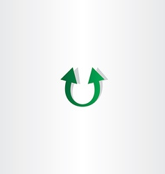 Letter u arrow green logo vector