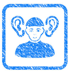 Listener guy framed stamp vector
