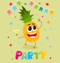 Party flayer template cute pineapple character vector