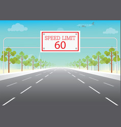 road sign with speed limit on highway vector image vector image
