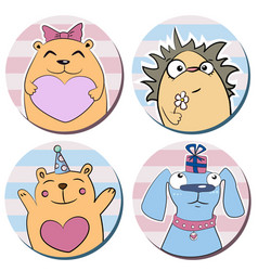 round stickers with funny cute cartoon animals vector image
