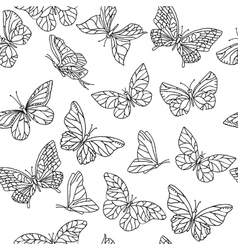 Seamless pattern with butterflies Black and vector image
