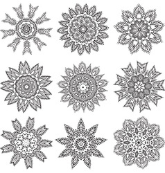 Set hand drawing zentangle mandala elements vector