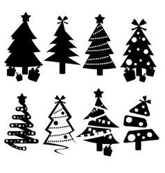 set of black christmas trees icons vector image vector image