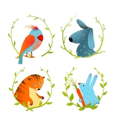 Set of Cartoon Domestic Animals Portraits vector image vector image