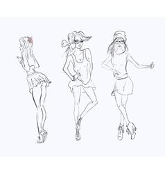 sketch drawing girl vector image