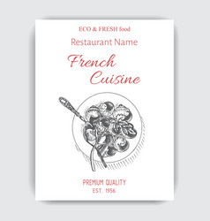 sketch - escargot card menu vector image