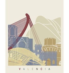 Valencia skyline poster vector