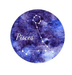 Watercolor horoscope sign pisces vector