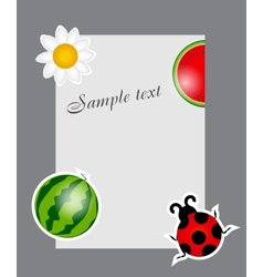watermelon ladybug daisy on blank page vector image vector image