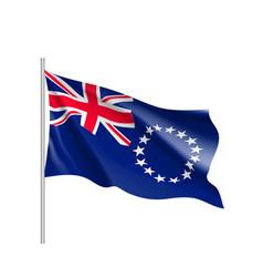 Waving flag of cook islands vector