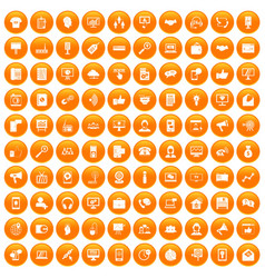 100 help desk icons set orange vector