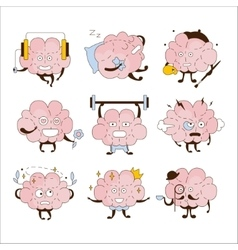 Brain different activities and emoticons icon set vector