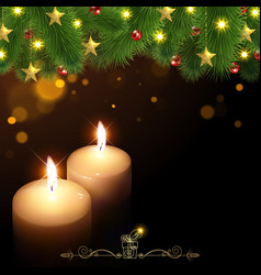 Christmas background with burning candles vector