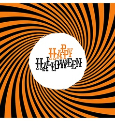 Happy halloween typography on orange rays hypnotic vector
