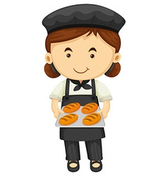 Female baker in black apron and hat vector